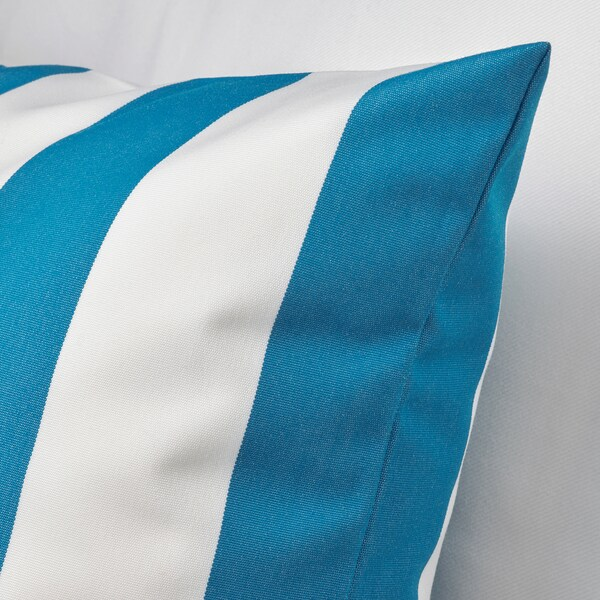 FUNKÖN Housse de coussin, int/ext, bleu/blanc, 50x50 cm