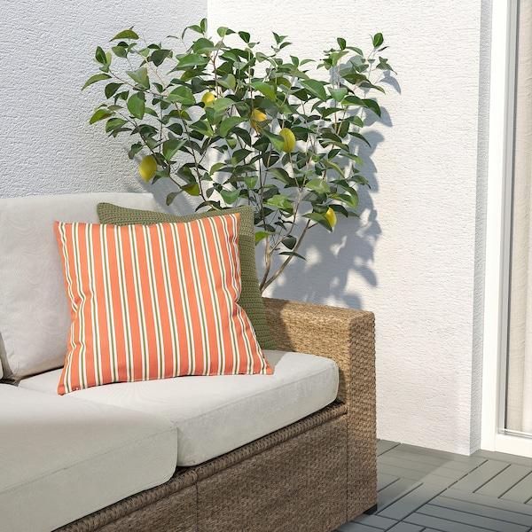 FUNKÖN Housse de coussin, int/ext, orange rayure, 50x50 cm
