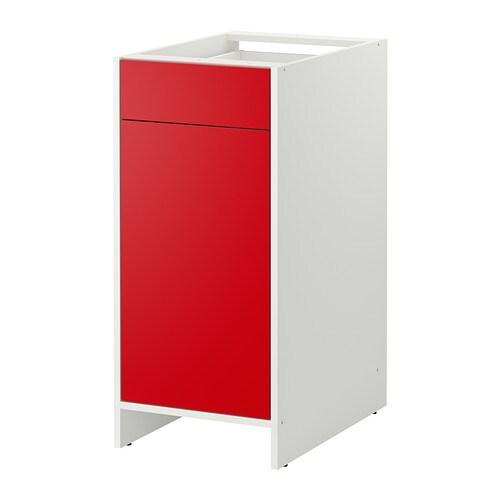 fyndig l ment bas avec porte et tiroir blanc rouge ikea. Black Bedroom Furniture Sets. Home Design Ideas