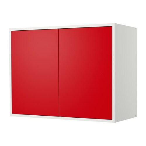 Fyndig l ment mural avec portes blanc rouge ikea for Meuble 2 portes a suspendre