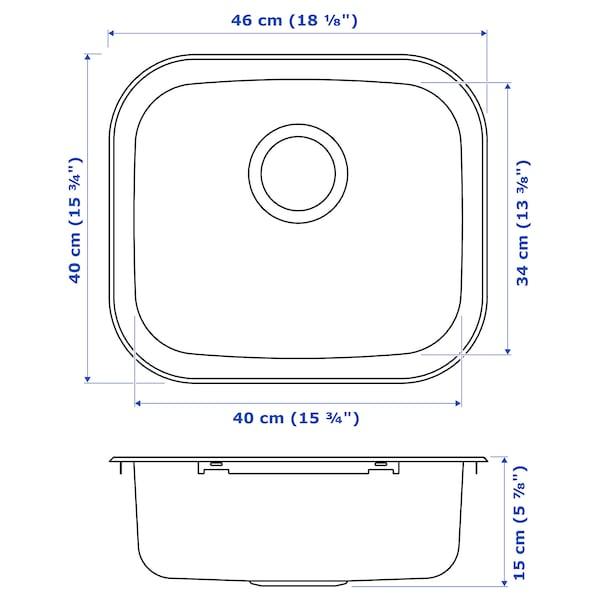 FYNDIG Évier intégré, 1 bac, acier inoxydable, 46x40 cm