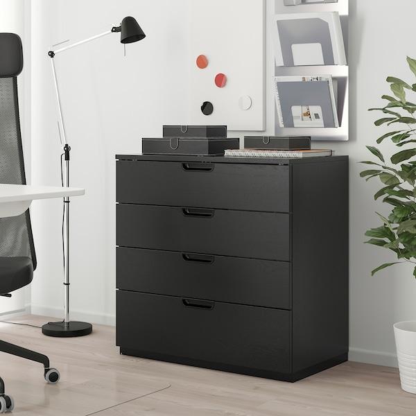 GALANT Caisson à tiroirs, plaqué frêne teinté noir, 80x80 cm
