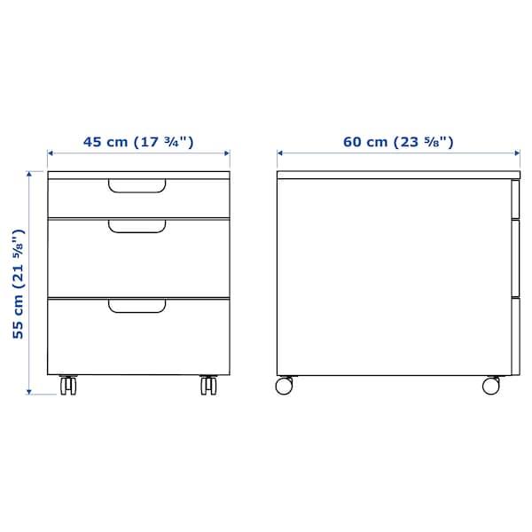 GALANT Caisson à tiroirs sur roulettes, plaqué chêne blanchi, 45x55 cm