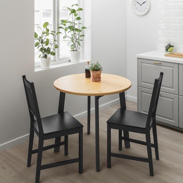 GAMLARED Table, teinté antique clair/teinté noir, 85 cm