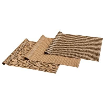 GIVANDE Papier cadeau, naturel/noir, 3.0x0.7 m
