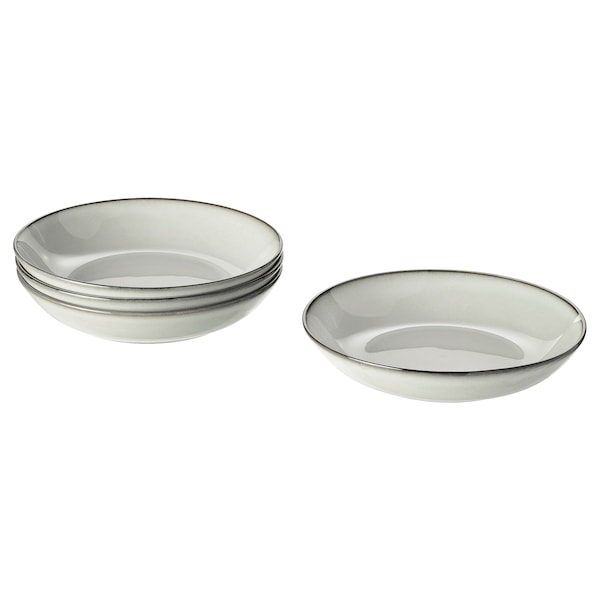 GLADELIG Assiette creuse, gris, 21 cm