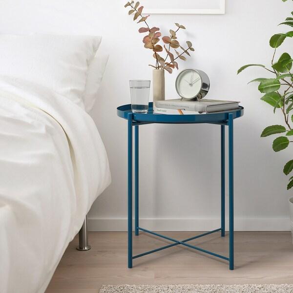 GLADOM Table/plateau, brillant bleu foncé, 45x53 cm
