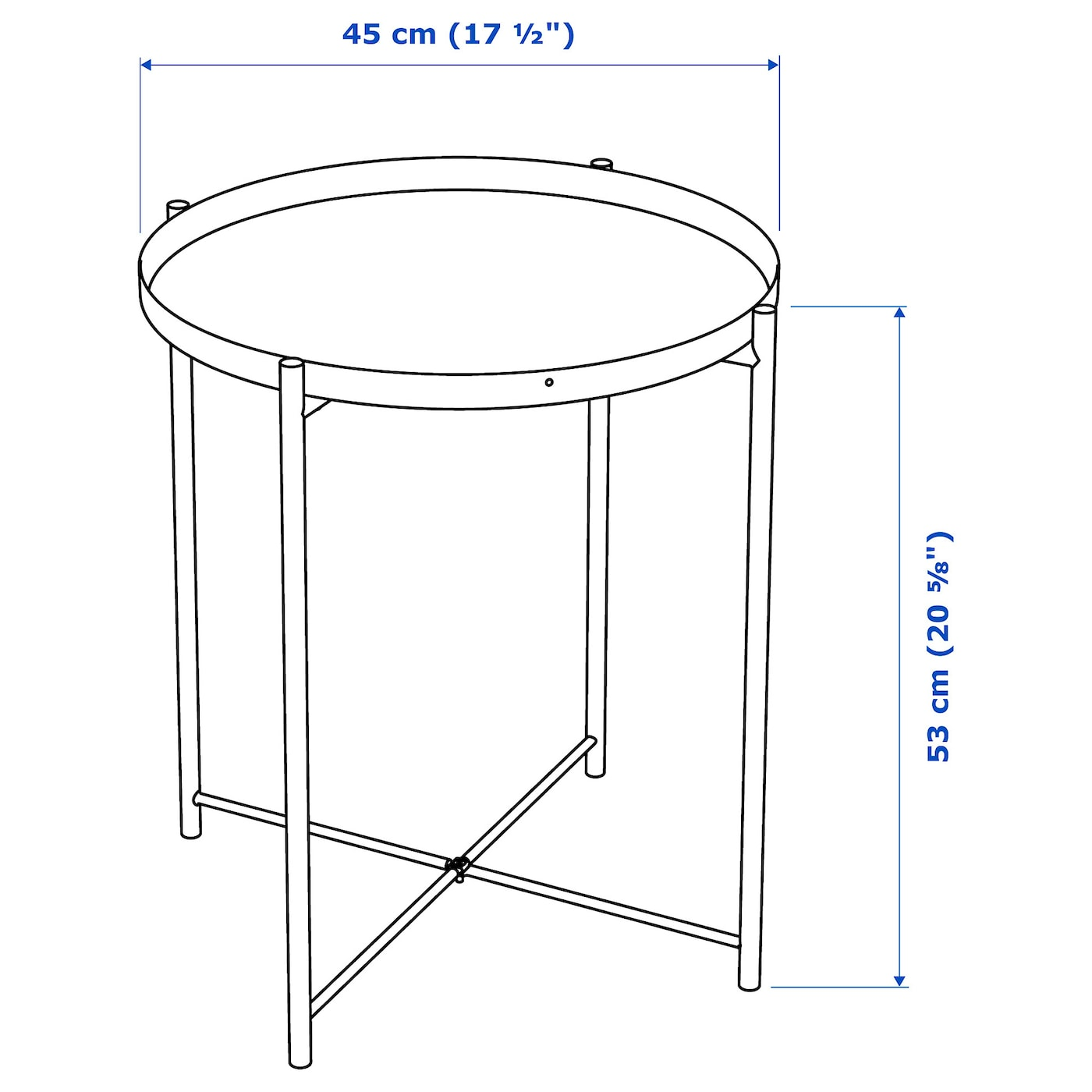 IKEA gladom plateau table d/'appoint Noir 45x53 cm salon table de table