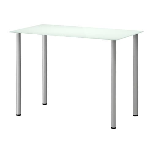 Glasholm adils table verre blanc couleur argent ikea for Table de cuisine en verre ikea