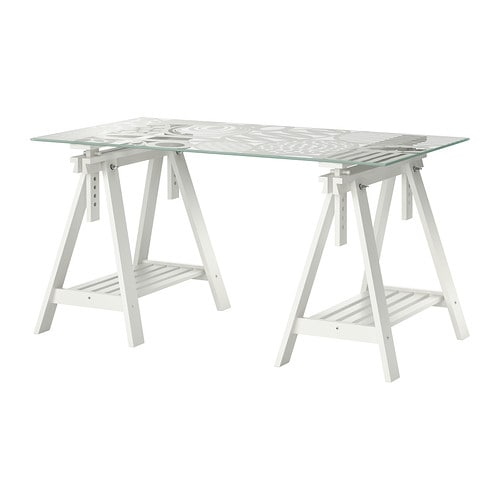 Glasholm finnvard table verre motif uf blanc ikea for Bureau treteau ikea