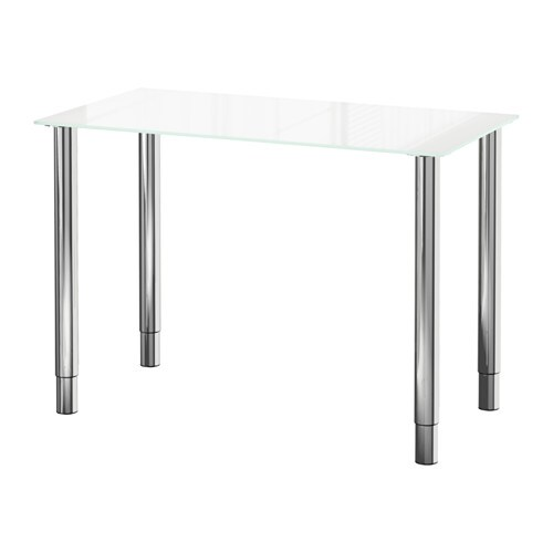 Glasholm gerton table verre blanc chrom ikea for Table de cuisine ikea en verre