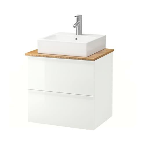 godmorgon aldern t rnviken meuble lavabo av lav poser 45x45 bambou brillant blanc ikea. Black Bedroom Furniture Sets. Home Design Ideas