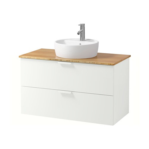 godmorgon aldern t rnviken meuble lavabo av lavabo poser 45 bambou blanc 102x49x74 cm ikea. Black Bedroom Furniture Sets. Home Design Ideas