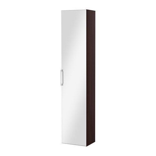 Godmorgon armoire avec porte miroir brun noir ikea for Miroir noir ikea
