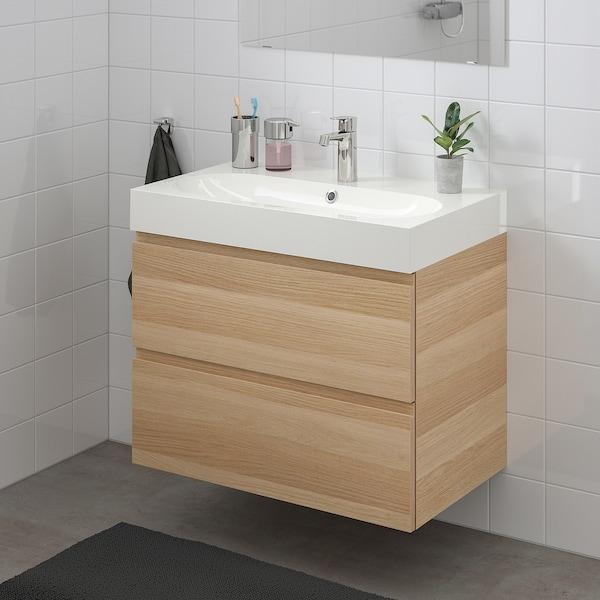 GODMORGON / BRÅVIKEN Meuble lavabo 2tir, effet chêne blanchi/mitigeur lavabo Brogrund, 80x48x68 cm