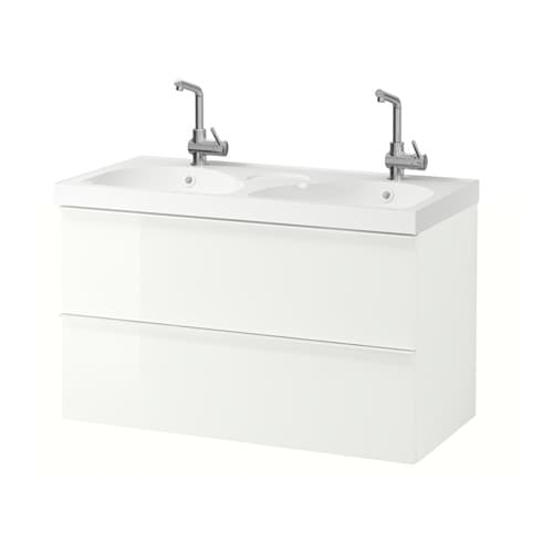 godmorgon edeboviken meuble lavabo 2tir brillant blanc ikea. Black Bedroom Furniture Sets. Home Design Ideas