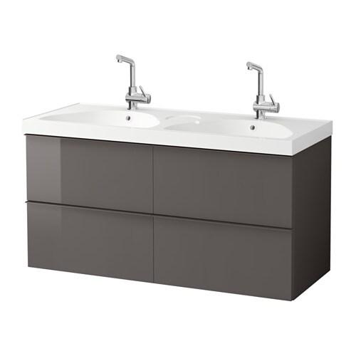 GODMORGON EDEBOVIKEN Meuble lavabo 4tir brillant gris