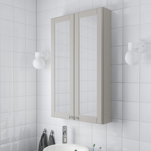 GODMORGON Meuble à miroir 2 portes, Kasjön gris clair, 60x14x96 cm