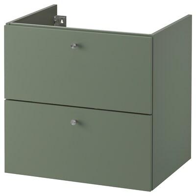 GODMORGON Meuble lavabo 2tir, Gillburen gris vert, 60x47x58 cm