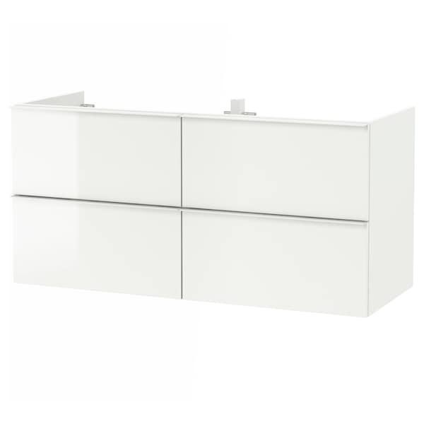 GODMORGON Meuble lavabo 4tir, brillant blanc, 120x47x58 cm