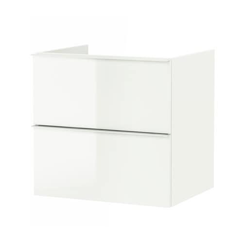 Godmorgon Meuble Lavabo 2tir Brillant Blanc 60x47x58 Cm Ikea