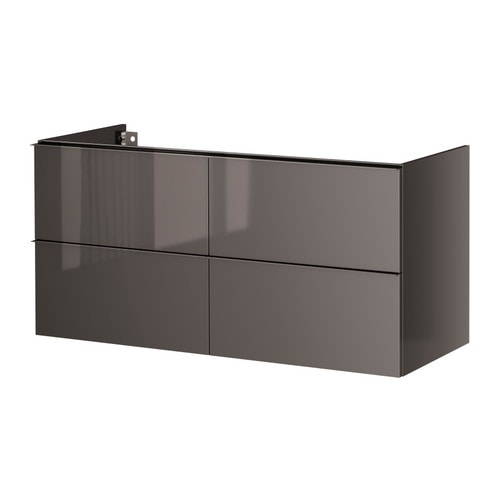 godmorgon meuble lavabo 4tir brillant gris 120x47x58 cm ikea. Black Bedroom Furniture Sets. Home Design Ideas