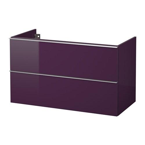 Godmorgon meuble lavabo 2tir brillant prune 100x47x58 for Meuble salle de bain ikea godmorgon