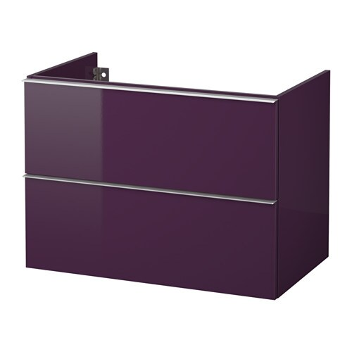 Godmorgon meuble lavabo 2tir brillant prune 80x47x58 cm for Meuble mural godmorgon