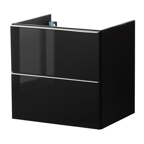 godmorgon meuble lavabo 2tir brillant noir 60x47x58 cm. Black Bedroom Furniture Sets. Home Design Ideas
