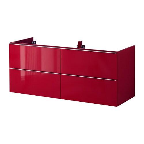 Godmorgon meuble lavabo 4tir brillant rouge 140x47x58 for Ikea meuble salle de bain godmorgon