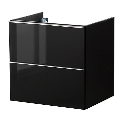 godmorgon meuble lavabo 2tir brillant noir 60x47x58 cm ikea. Black Bedroom Furniture Sets. Home Design Ideas