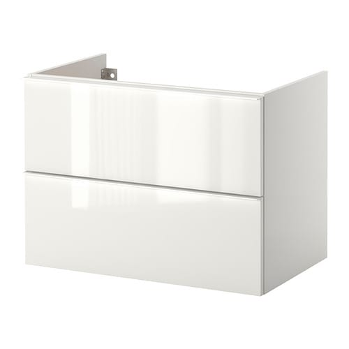 Godmorgon meuble lavabo 2tir brillant blanc 80x47x58 cm for Meuble mural godmorgon