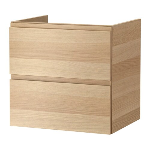 Godmorgon Meuble Lavabo 2tir Effet Chene Blanchi 60x47x58 Cm Ikea