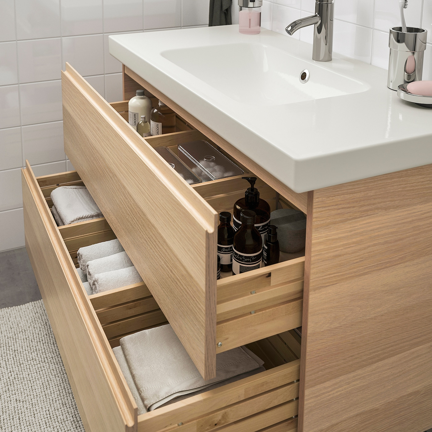 GODMORGON / ODENSVIK Mobilier salle de bain, 19 pièces - effet chêne  blanchi, Dalskär mitigeur lavabo 19 cm