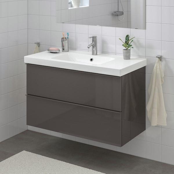 GODMORGON / ODENSVIK Meuble lavabo 2tir, brillant gris/Dalskär mitigeur lavabo, 103x49x64 cm