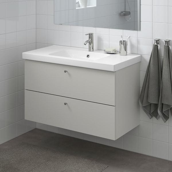 GODMORGON / ODENSVIK Meuble lavabo 2tir, Gillburen gris clair/Dalskär mitigeur lavabo, 103x49x64 cm