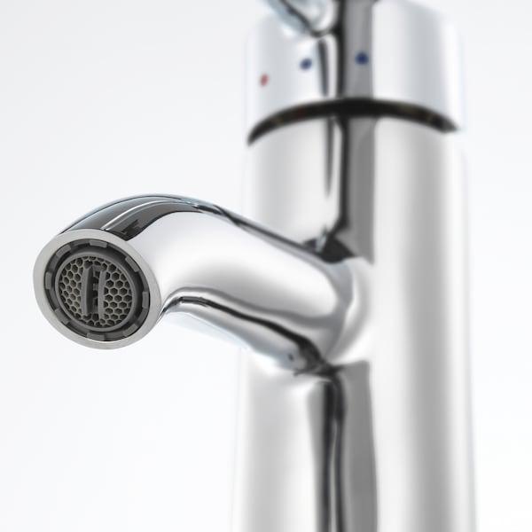 GODMORGON / ODENSVIK Meuble lavabo 4tir, brillant blanc/Dalskär mitigeur lavabo, 123x49x64 cm