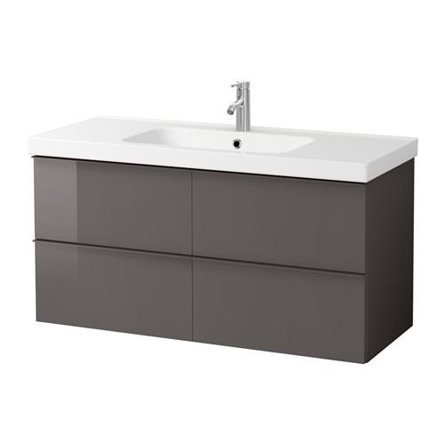 Godmorgon odensvik meuble lavabo 4tir brillant gris ikea - Meuble salle de bain ikea godmorgon ...