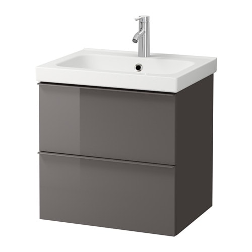 godmorgon odensvik meuble lavabo 2tir brillant gris 63x49x64 cm ikea. Black Bedroom Furniture Sets. Home Design Ideas