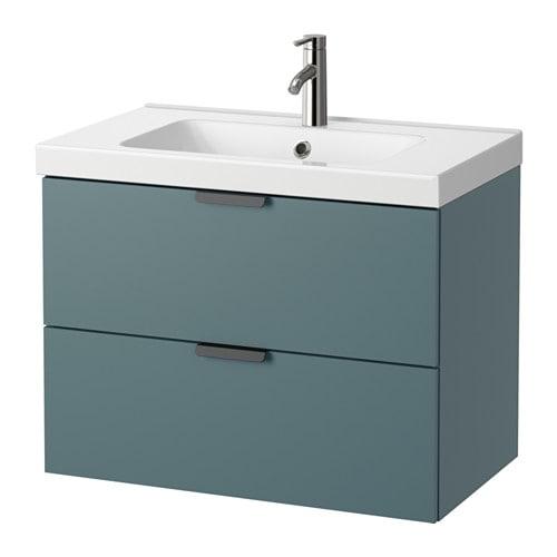Godmorgon odensvik meuble lavabo 2tir gris turquoise for Meuble salle de bain turquoise