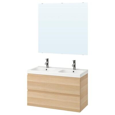 GODMORGON / ODENSVIK Mobilier salle de bain, 5 pièces, effet chêne blanchi/Dalskär mitigeur lavabo, 103 cm