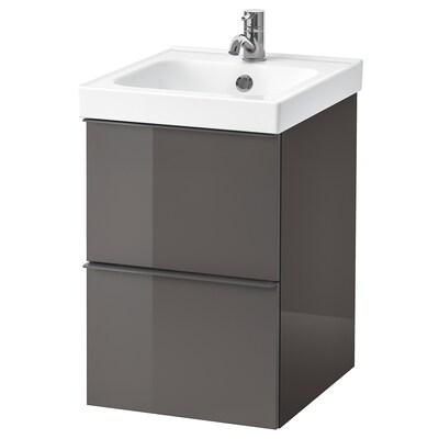 GODMORGON / ODENSVIK meuble lavabo 2tir brillant gris/Pilkån mitigeur lavabo 43 cm 40 cm 49 cm 64 cm