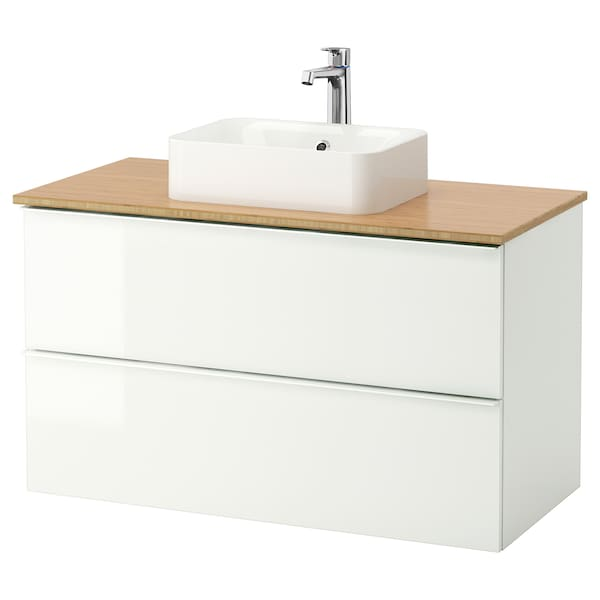 GODMORGON/TOLKEN / HÖRVIK Meuble lavabo av lav à poser 45x32, brillant blanc/bambou mitigeur lavabo Brogrund, 102x49x72 cm