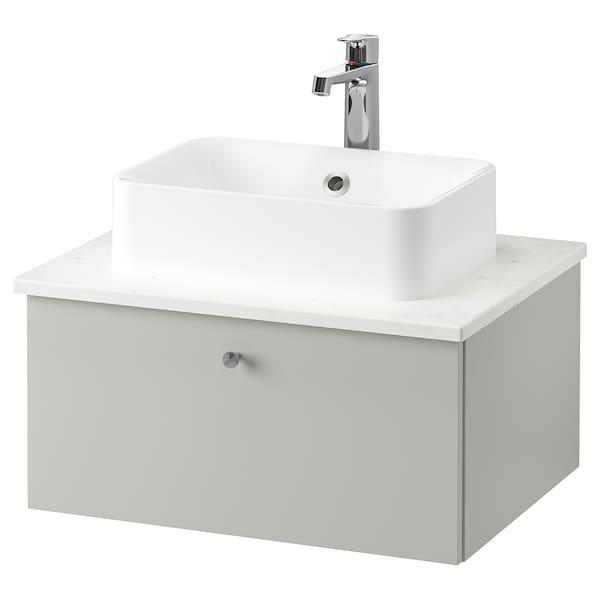 GODMORGON/TOLKEN / HÖRVIK Meuble lavabo av lav à poser 45x32, Gillburen gris clair/marbré mitigeur lavabo Brogrund, 62x49x43 cm