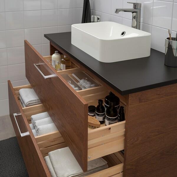 GODMORGON/TOLKEN / HÖRVIK Meuble lavabo av lav à poser 45x32, motif frêne effet brun moyen/anthracite mitigeur lavabo Brogrund, 102x49x72 cm