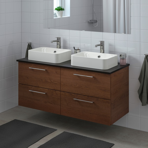 GODMORGON/TOLKEN / HÖRVIK Meuble lavabo av lav à poser 45x32, motif frêne effet brun moyen/anthracite mitigeur lavabo Brogrund, 122x49x72 cm