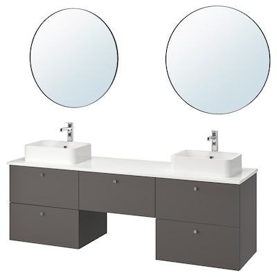 GODMORGON/TOLKEN / HÖRVIK Mobilier salle de bain, 10 pièces, Gillburen gris foncé/marbré mitigeur lavabo Brogrund, 182x49x72 cm