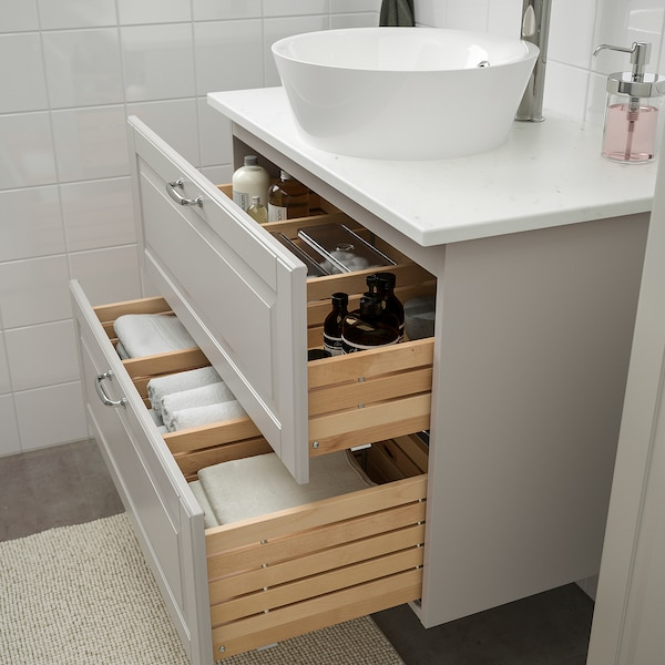 GODMORGON/TOLKEN / KATTEVIK Mobilier salle de bain, 6 pièces, Kasjön gris clair/marbré Voxnan mitigeur lavabo, 82 cm