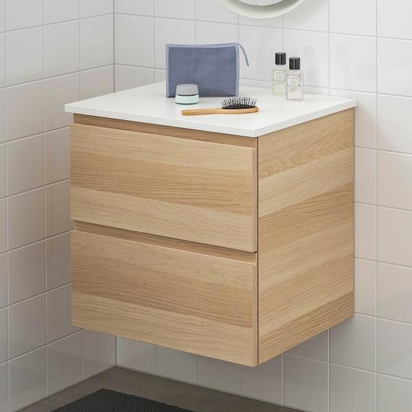 GODMORGON / TOLKEN Meuble lavabo 2tir, effet chêne blanchi/blanc, 62x49x60 cm