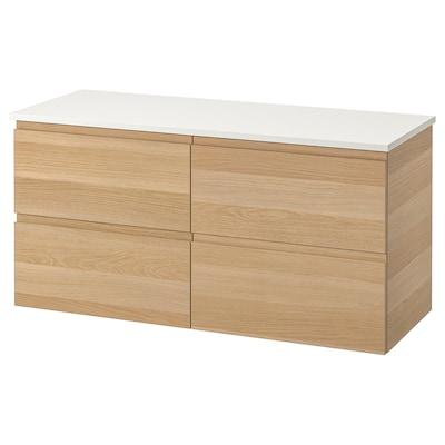 GODMORGON / TOLKEN Meuble lavabo 4tir, effet chêne blanchi/blanc, 122x49x60 cm